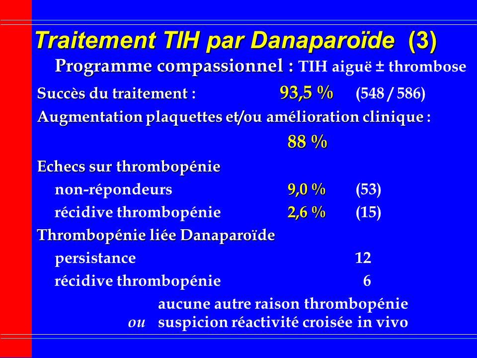 Traitement TIH par Danaparoïde (2) Traitement TIH par Danaparoïde (2) Programme compassionnel ouvert non contrôlé Programme compassionnel ouvert non c