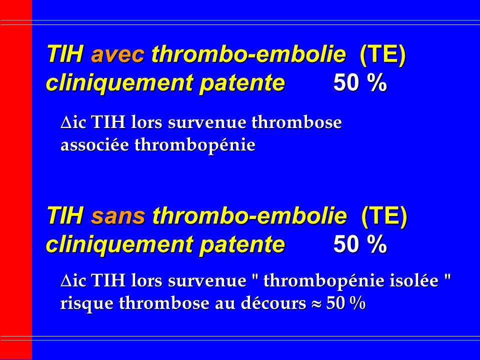 Arrêt immédiat des héparines HNF ou HBPM Panneau au lit du patient Pas dhéparines : TIH Eliminer toute source minime dhéparines cathéter recouvert dhé