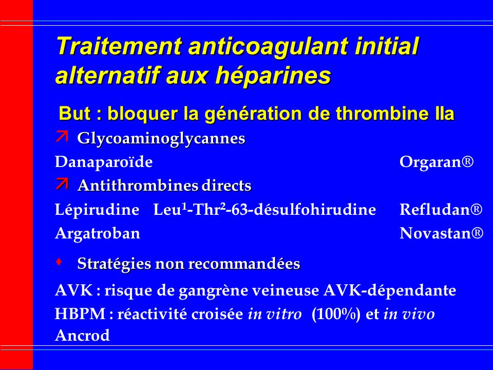 Traitement anticoagulant initial alternatif aux héparines But : bloquer la génération de thrombine IIa Glycoaminoglycannes ä Glycoaminoglycannes Danaparoïde Orgaran® ä Antithrombines directs LépirudineLeu 1 -Thr 2 -63-désulfohirudineRefludan® ArgatrobanNovastan® Stratégies non recommandées s Stratégies non recommandées AVK : risque de gangrène veineuse AVK-dépendante HBPM : réactivité croisée in vitro (100%) et in vivo Ancrod