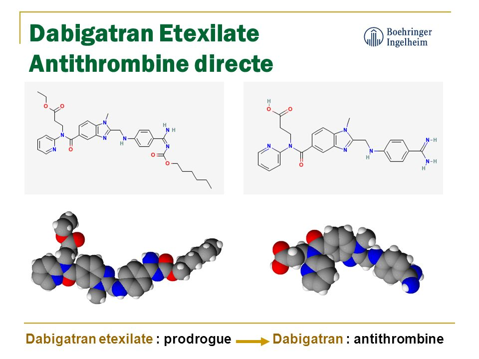 Dabigatran Etexilate Antithrombine directe Dabigatran etexilate : prodrogueDabigatran : antithrombine