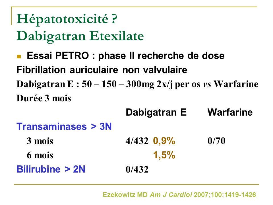 Hépatotoxicité ? Dabigatran Etexilate Essai PETRO : phase II recherche de dose Fibrillation auriculaire non valvulaire Dabigatran E : 50 – 150 – 300mg