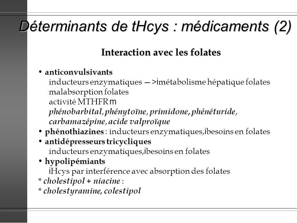 Déterminants de tHcys : médicaments (2) Interaction avec les folates anticonvulsivants inducteurs enzymatiques > i métabolisme hépatique folates malab