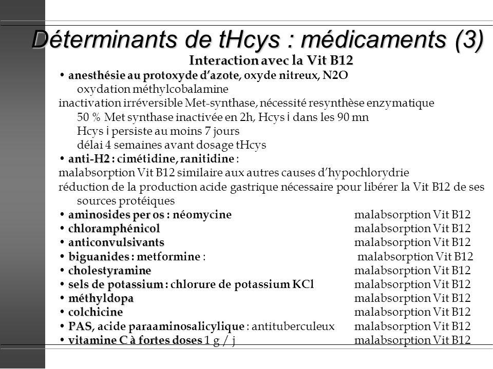 Déterminants de tHcys : médicaments (3) Interaction avec la Vit B12 anesthésie au protoxyde dazote anesthésie au protoxyde dazote, oxyde nitreux, N2O