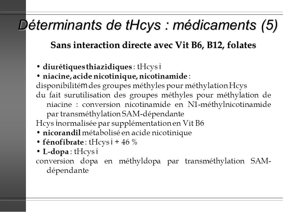 Déterminants de tHcys : médicaments (5) Sans interaction directe avec Vit B6, B12, folates diurétiques thiazidiques diurétiques thiazidiques : tHcys i