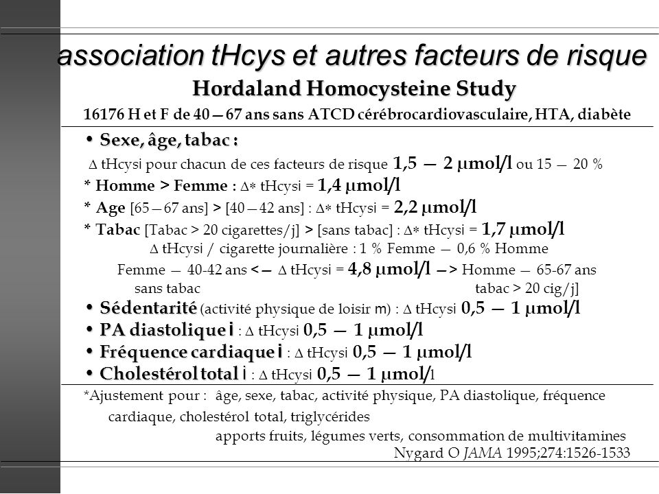 association tHcys et autres facteurs de risque Hordaland Homocysteine Study 16176 H et F de 4067 ans sans ATCD cérébrocardiovasculaire, HTA, diabète S