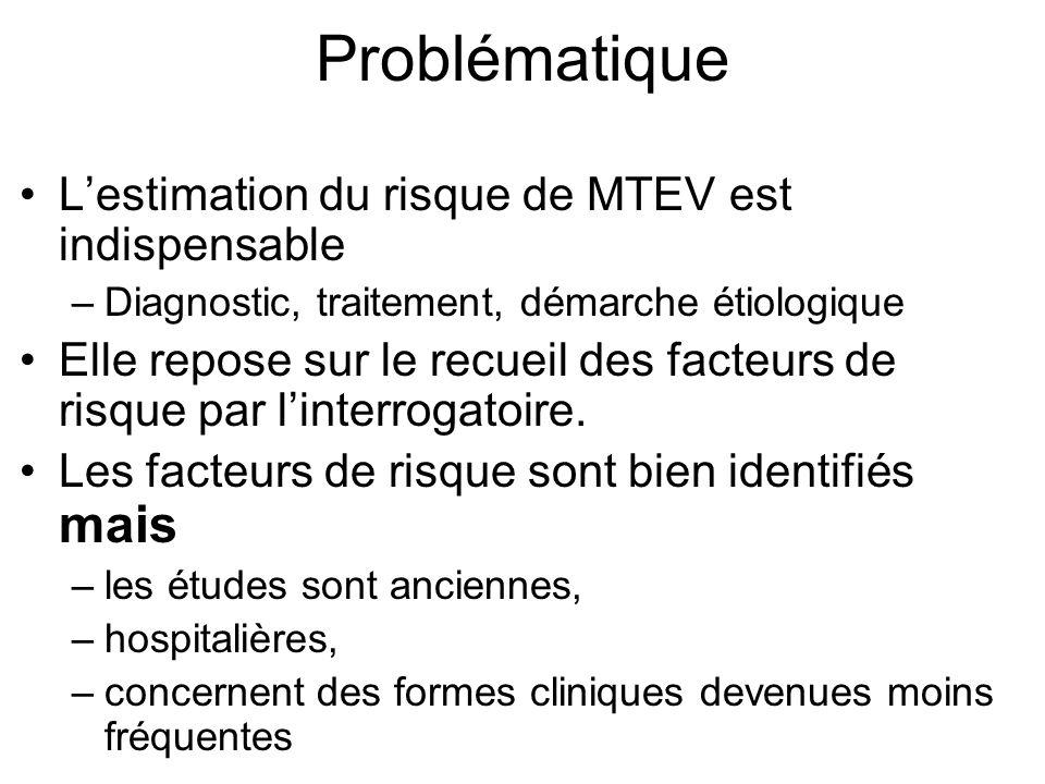 Problématique Lestimation du risque de MTEV est indispensable –Diagnostic, traitement, démarche étiologique Elle repose sur le recueil des facteurs de risque par linterrogatoire.