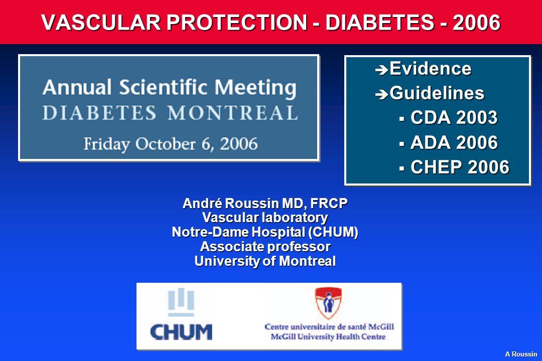 A Roussin Baseline feature Previous MI 1,007 1,255 Other CHD (not MI) 452452597597 No prior CHD CVDCVD182182215215 PVDPVD332332427427 DiabetesDiabetes279279369369 ALL PATIENTS 2,042 2,606 (19.9%)(19.9%)(25.4%)(25.4%) 24% SE 2.6 reduction (2P<0.00001)(2P<0.00001) 0.40.40.60.60.80.81.01.01.21.21.41.4 Risk ratio and 95% CI Statin(n=10,269)Statin(n=10,269) Placebo (n=10,267) (n=10,267) Statin better Statin worse Lancet 2002; 360: 7-22 Étude HPS Évènements selon le critère dentrée