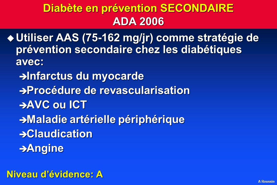 A Roussin Diabète en prévention SECONDAIRE ADA 2006 Utiliser AAS (75-162 mg/jr) comme stratégie de prévention secondaire chez les diabétiques avec: Ut