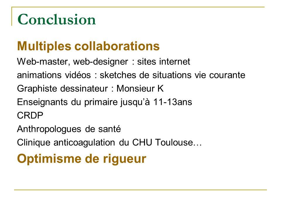 Conclusion Multiples collaborations Web-master, web-designer : sites internet animations vidéos : sketches de situations vie courante Graphiste dessin