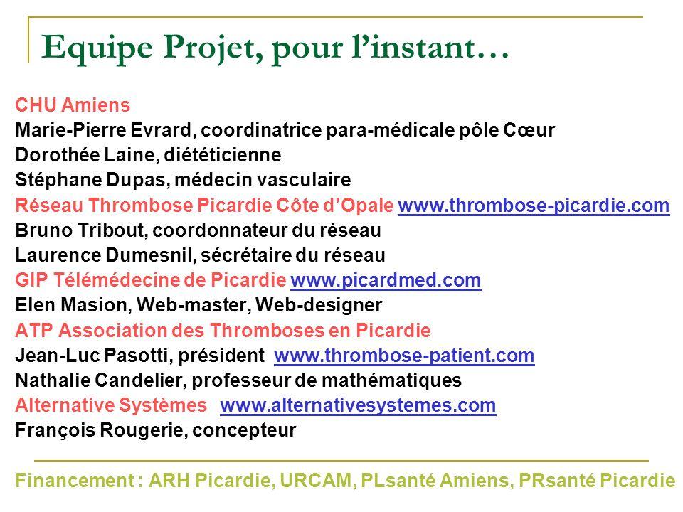 Equipe Projet, pour linstant… CHU Amiens Marie-Pierre Evrard, coordinatrice para-médicale pôle Cœur Dorothée Laine, diététicienne Stéphane Dupas, méde