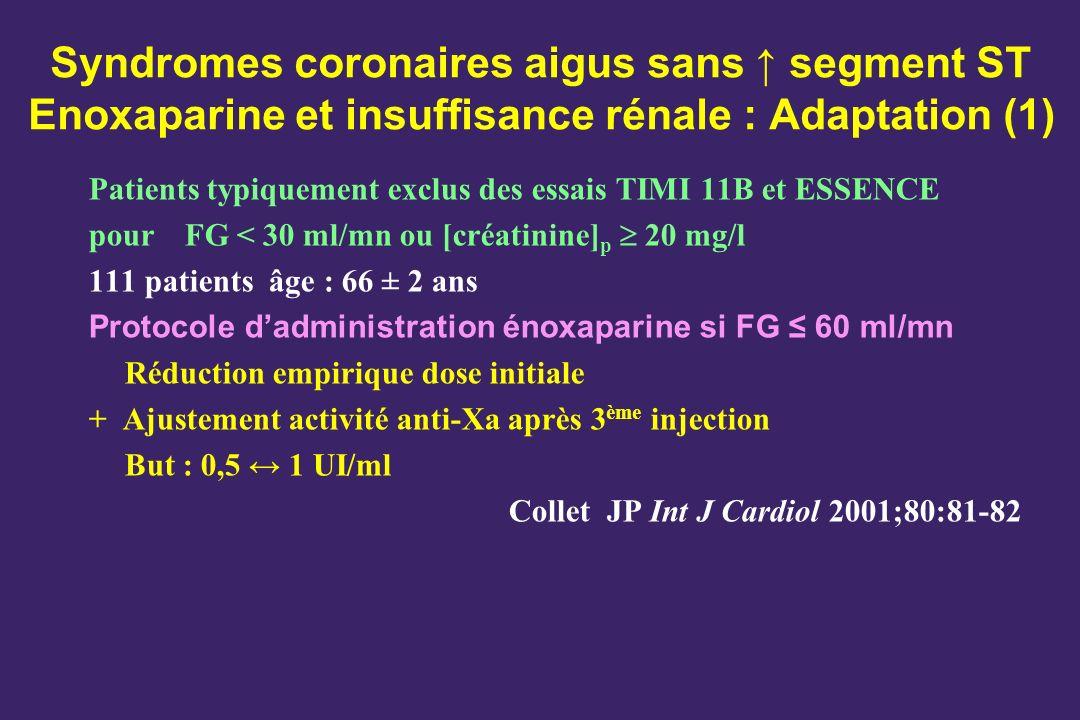 Syndromes coronaires aigus sans segment ST Enoxaparine et insuffisance rénale : Adaptation (1) Patients typiquement exclus des essais TIMI 11B et ESSE