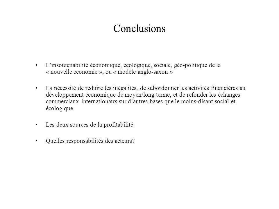Conclusions Linsoutenabilité économique, écologique, sociale, géo-politique de la « nouvelle économie », ou « modèle anglo-saxon » La nécessité de réd
