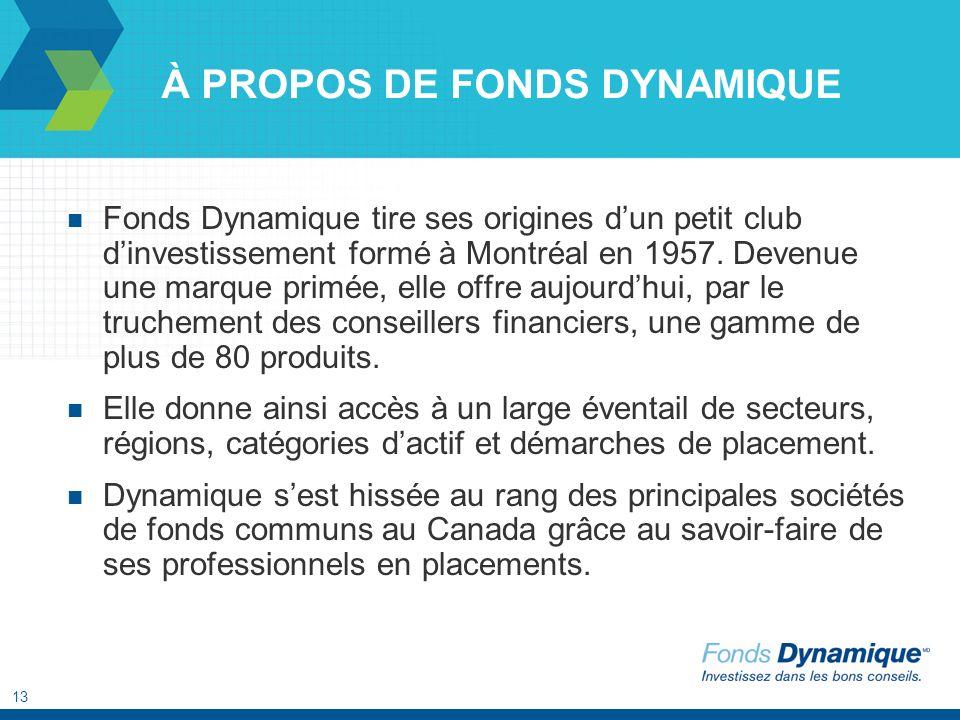 13 À PROPOS DE FONDS DYNAMIQUE Fonds Dynamique tire ses origines dun petit club dinvestissement formé à Montréal en 1957. Devenue une marque primée, e