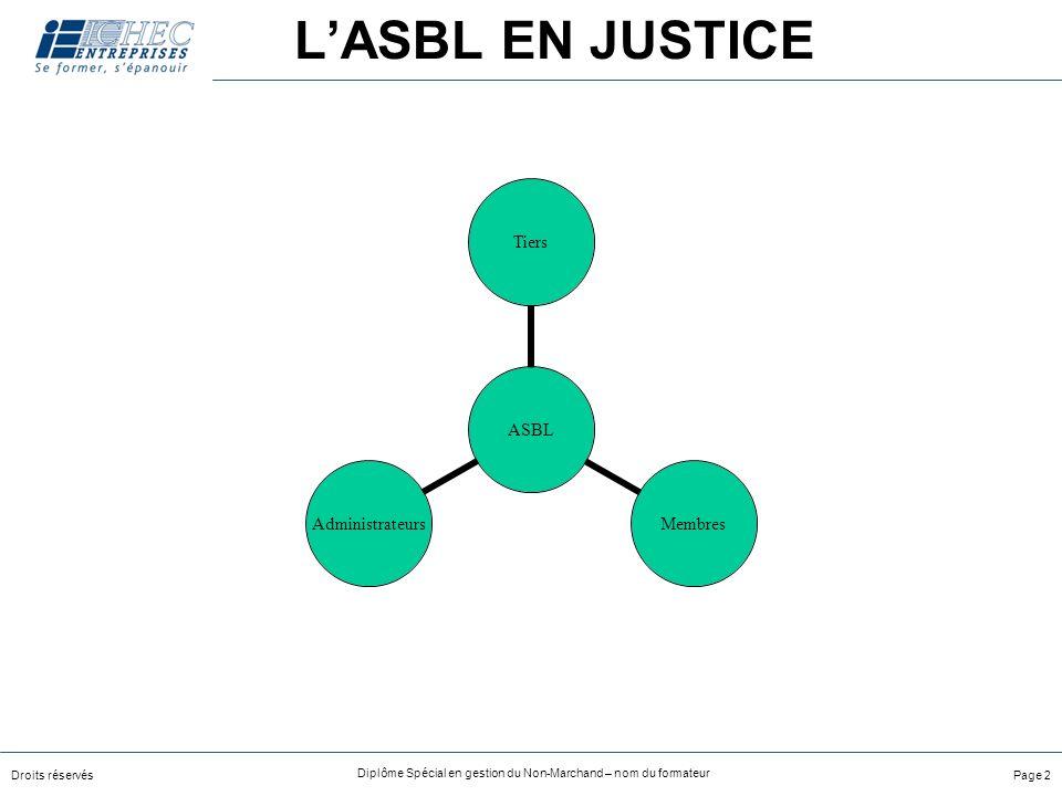 Droits réservés Diplôme Spécial en gestion du Non-Marchand – nom du formateur Page 2 LASBL EN JUSTICE ASBL TiersMembresAdministrateurs