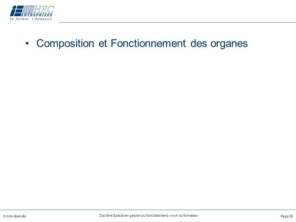 Droits réservés Diplôme Spécial en gestion du Non-Marchand – nom du formateur Page 25 Composition et Fonctionnement des organes