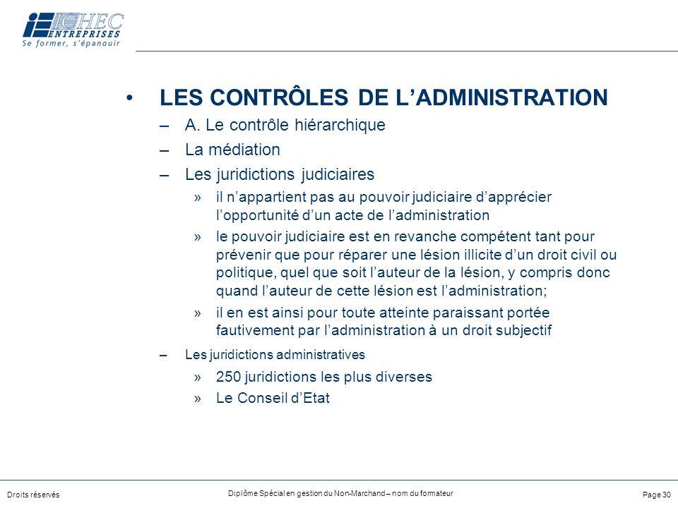 Droits réservés Diplôme Spécial en gestion du Non-Marchand – nom du formateur Page 30 LES CONTRÔLES DE LADMINISTRATION –A.