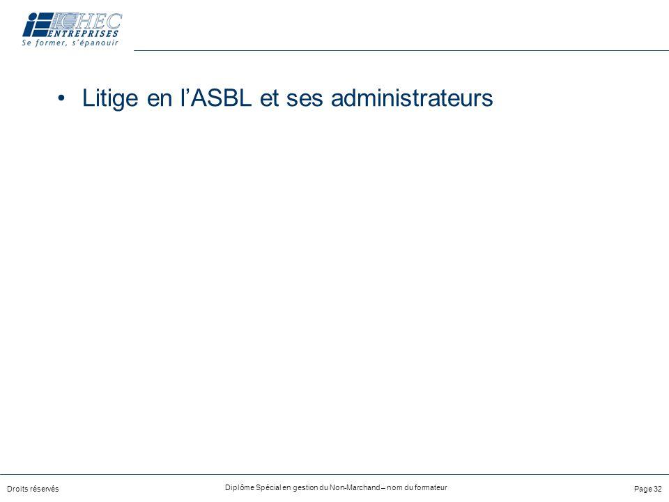 Droits réservés Diplôme Spécial en gestion du Non-Marchand – nom du formateur Page 32 Litige en lASBL et ses administrateurs