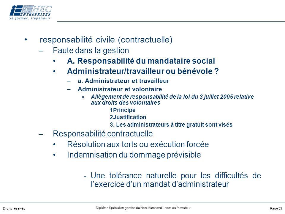 Droits réservés Diplôme Spécial en gestion du Non-Marchand – nom du formateur Page 33 responsabilité civile (contractuelle) –Faute dans la gestion A.