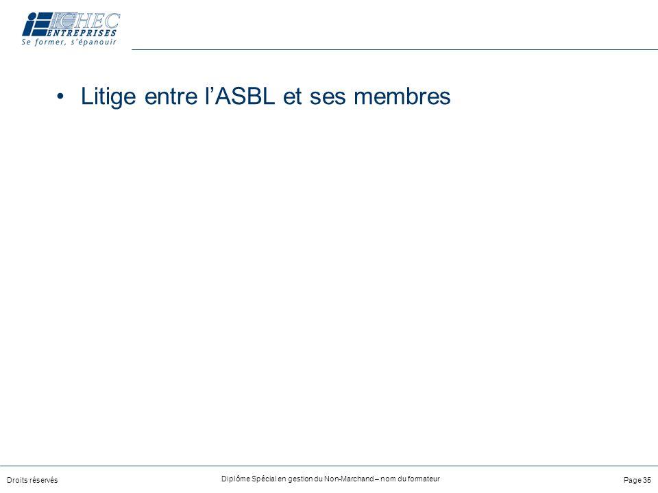 Droits réservés Diplôme Spécial en gestion du Non-Marchand – nom du formateur Page 35 Litige entre lASBL et ses membres