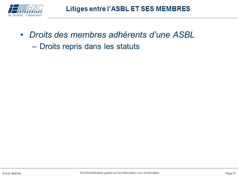 Droits réservés Diplôme Spécial en gestion du Non-Marchand – nom du formateur Page 37 Litiges entre lASBL ET SES MEMBRES Droits des membres adhérents dune ASBL –Droits repris dans les statuts