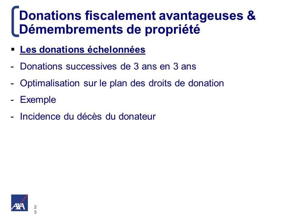 2323 Donations fiscalement avantageuses & Démembrements de propriété Les donations échelonnées -Donations successives de 3 ans en 3 ans -Optimalisatio