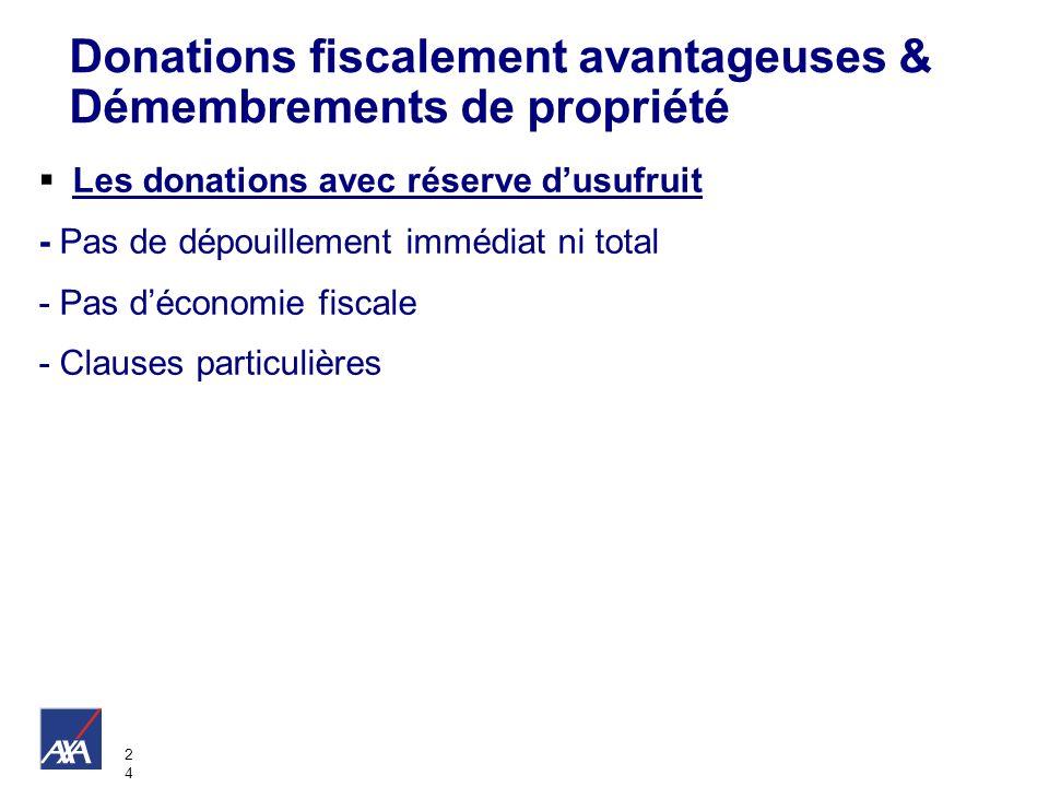 2424 Les donations avec réserve dusufruit - Pas de dépouillement immédiat ni total - Pas déconomie fiscale - Clauses particulières Donations fiscaleme