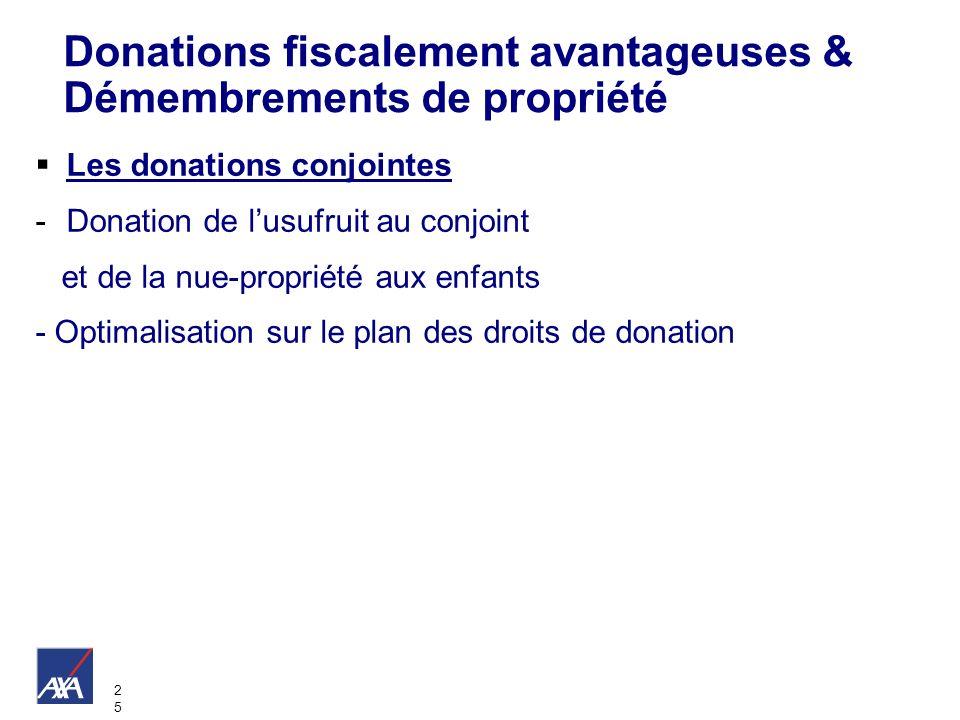 2525 Les donations conjointes -Donation de lusufruit au conjoint et de la nue-propriété aux enfants - Optimalisation sur le plan des droits de donatio
