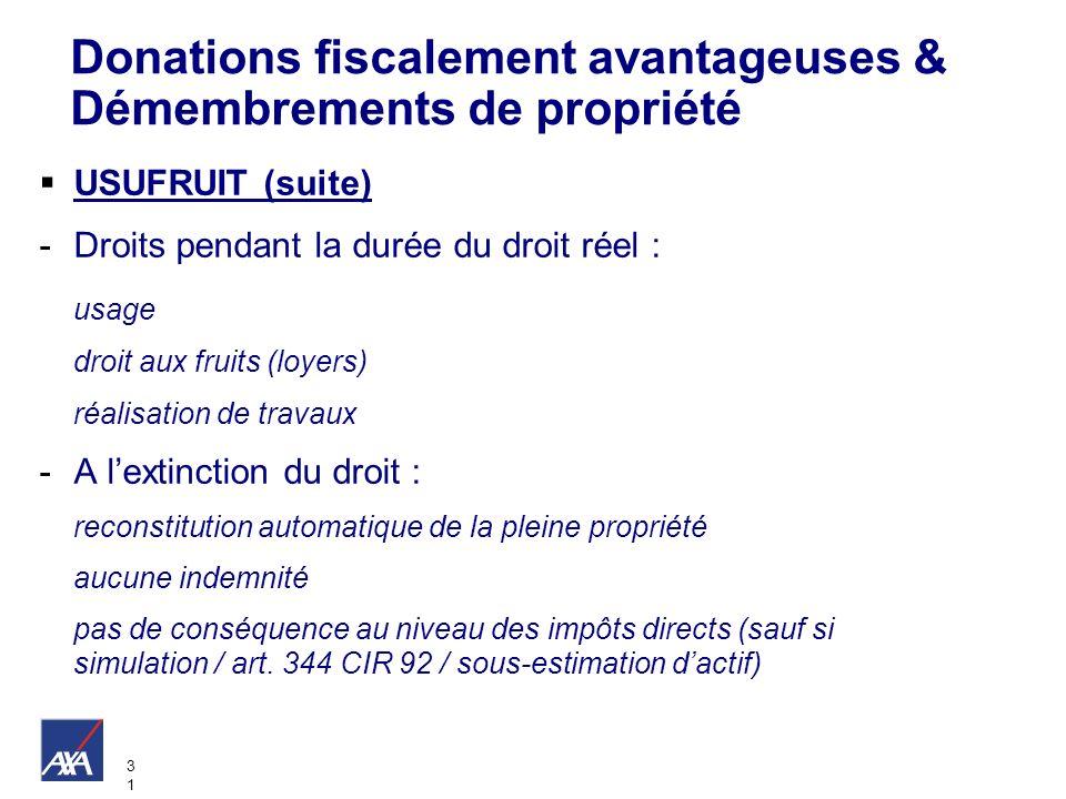 3131 Donations fiscalement avantageuses & Démembrements de propriété USUFRUIT (suite) -Droits pendant la durée du droit réel : usage droit aux fruits