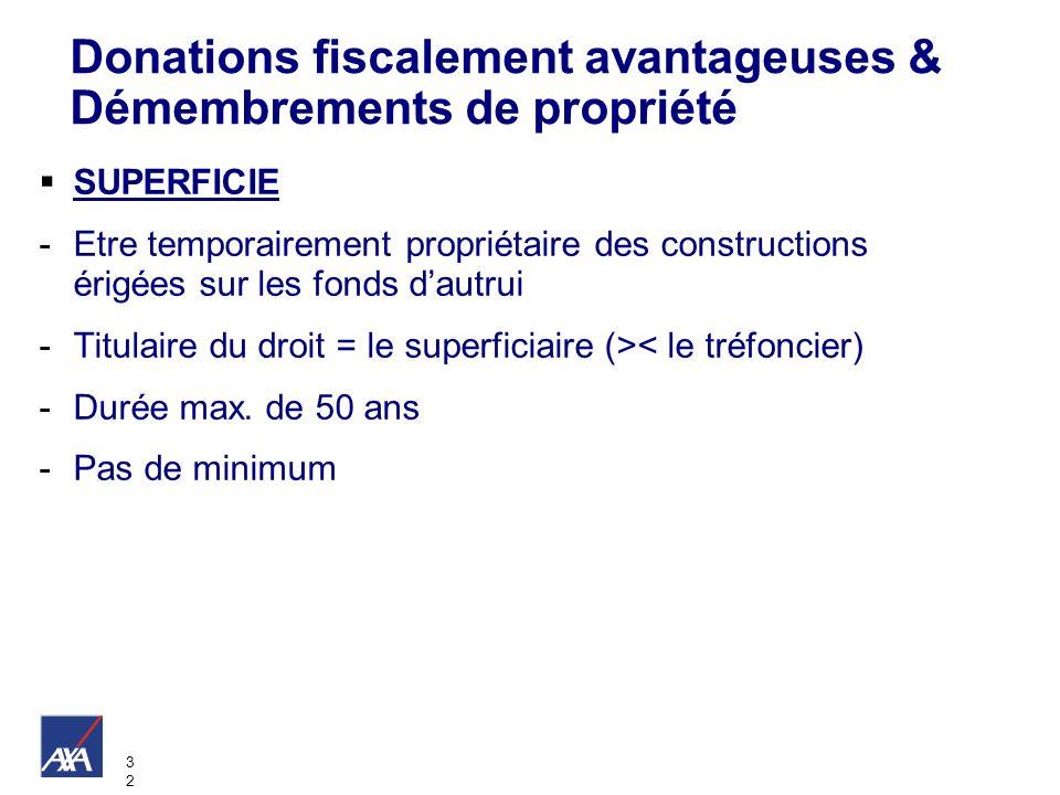3232 Donations fiscalement avantageuses & Démembrements de propriété SUPERFICIE -Etre temporairement propriétaire des constructions érigées sur les fo