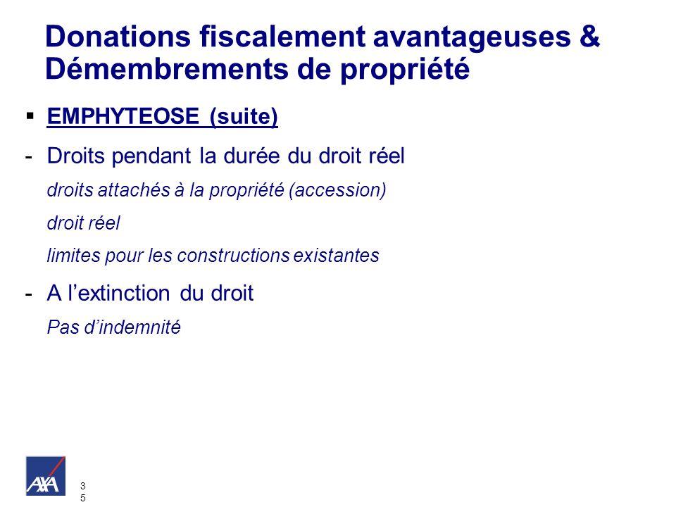 3535 Donations fiscalement avantageuses & Démembrements de propriété EMPHYTEOSE (suite) -Droits pendant la durée du droit réel droits attachés à la pr