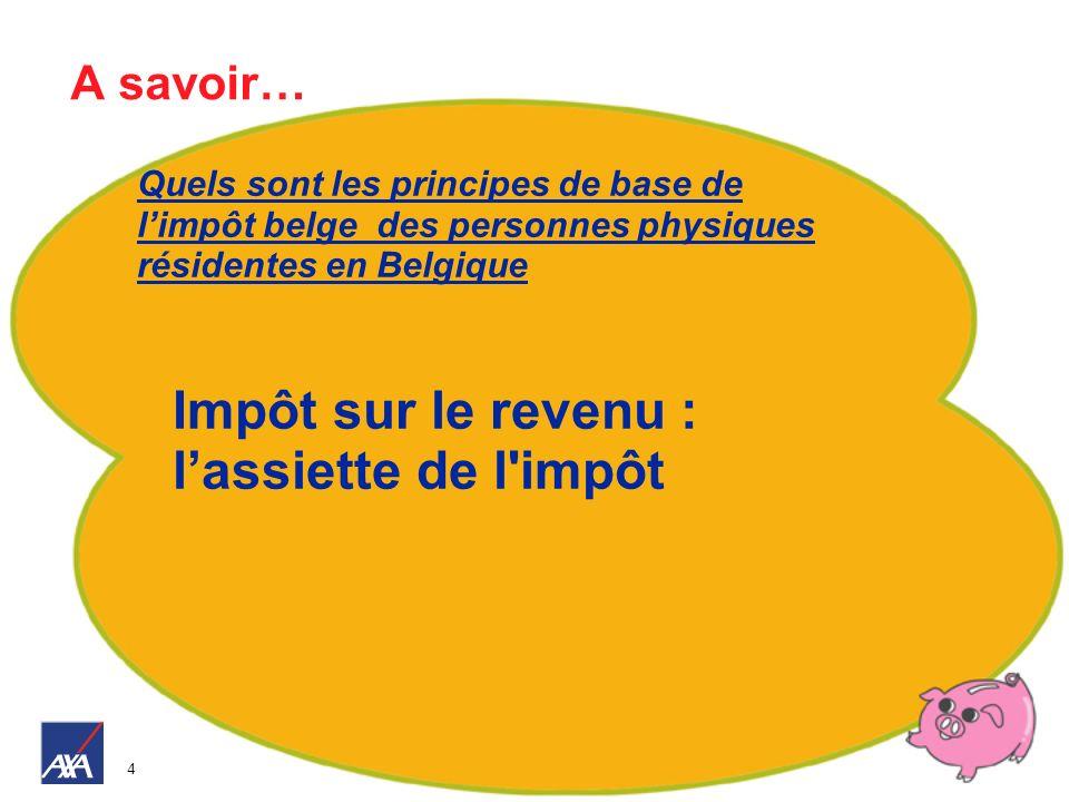 4 A savoir… Quels sont les principes de base de limpôt belge des personnes physiques résidentes en Belgique Impôt sur le revenu : lassiette de l'impôt