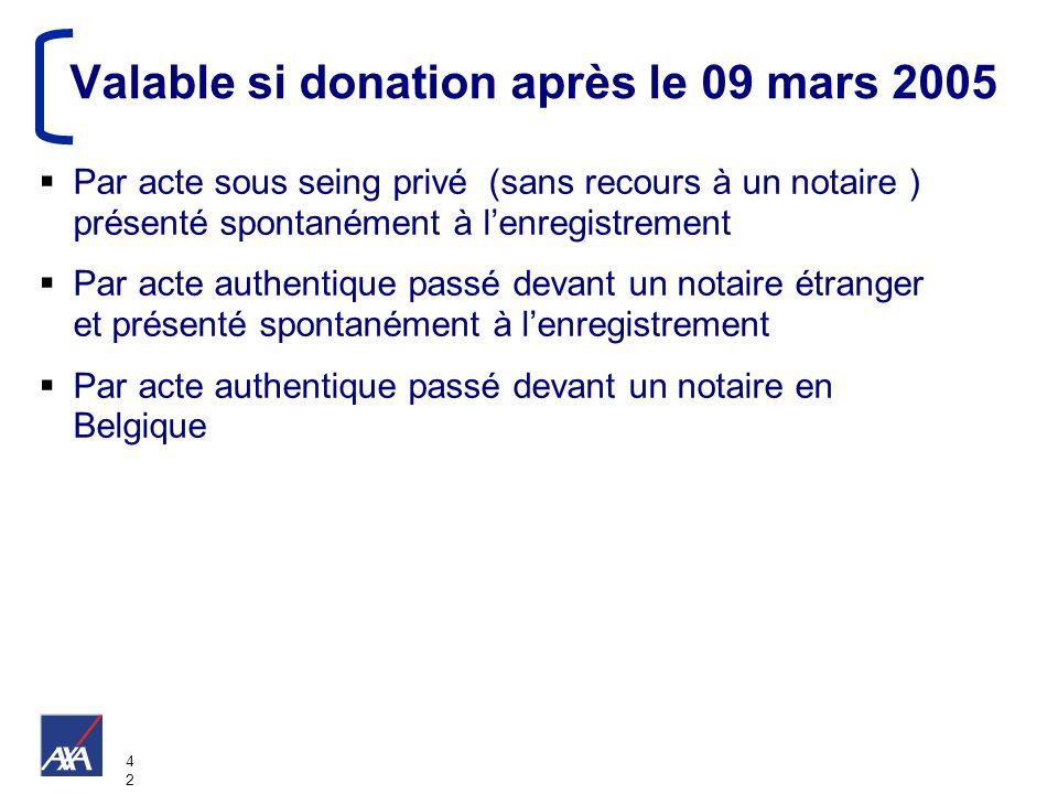 4242 Valable si donation après le 09 mars 2005 Par acte sous seing privé (sans recours à un notaire ) présenté spontanément à lenregistrement Par acte