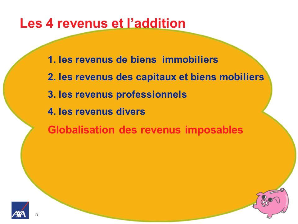 5 Les 4 revenus et laddition 1. les revenus de biens immobiliers 2. les revenus des capitaux et biens mobiliers 3. les revenus professionnels 4. les r