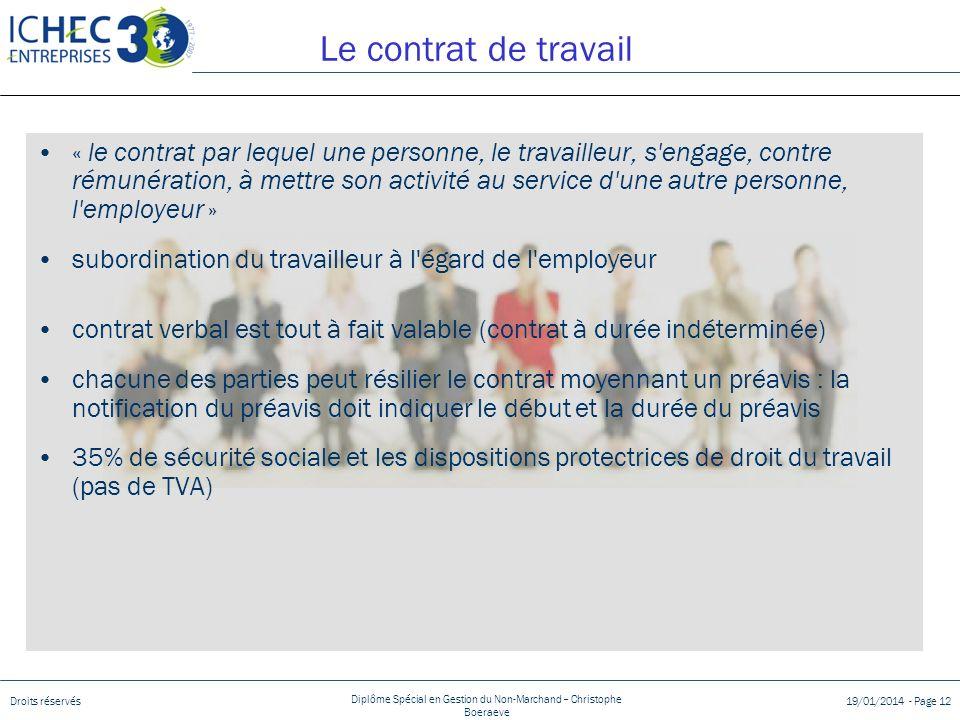 Droits réservés Diplôme Spécial en Gestion du Non-Marchand – Christophe Boeraeve 19/01/2014 - Page 12 Le contrat de travail « le contrat par lequel un
