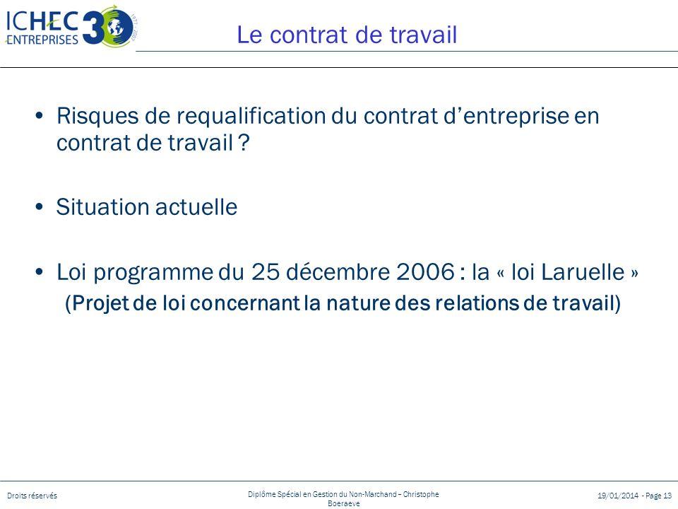 Droits réservés Diplôme Spécial en Gestion du Non-Marchand – Christophe Boeraeve 19/01/2014 - Page 13 Le contrat de travail Risques de requalification