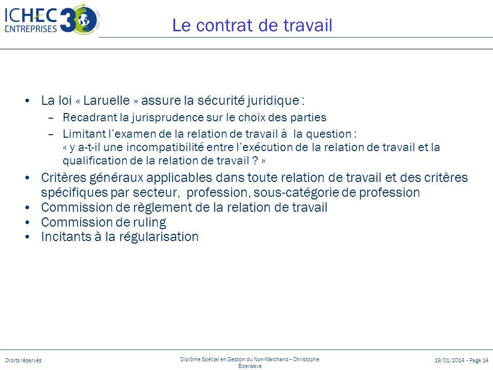 Droits réservés Diplôme Spécial en Gestion du Non-Marchand – Christophe Boeraeve 19/01/2014 - Page 14 Le contrat de travail La loi « Laruelle » assure