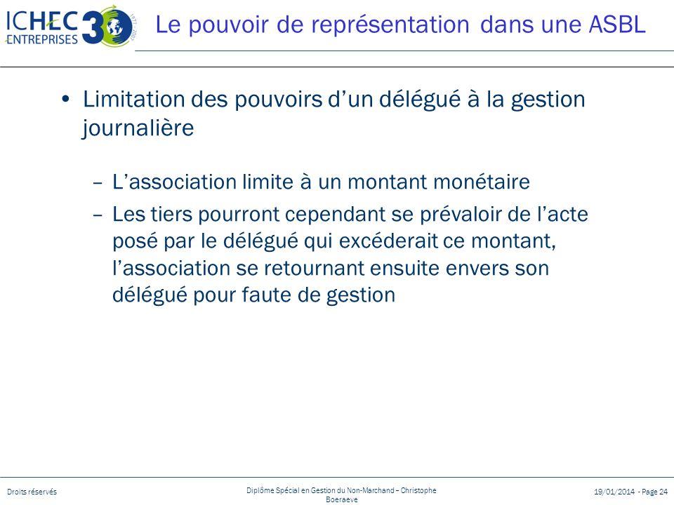 Droits réservés Diplôme Spécial en Gestion du Non-Marchand – Christophe Boeraeve 19/01/2014 - Page 24 Le pouvoir de représentation dans une ASBL Limit