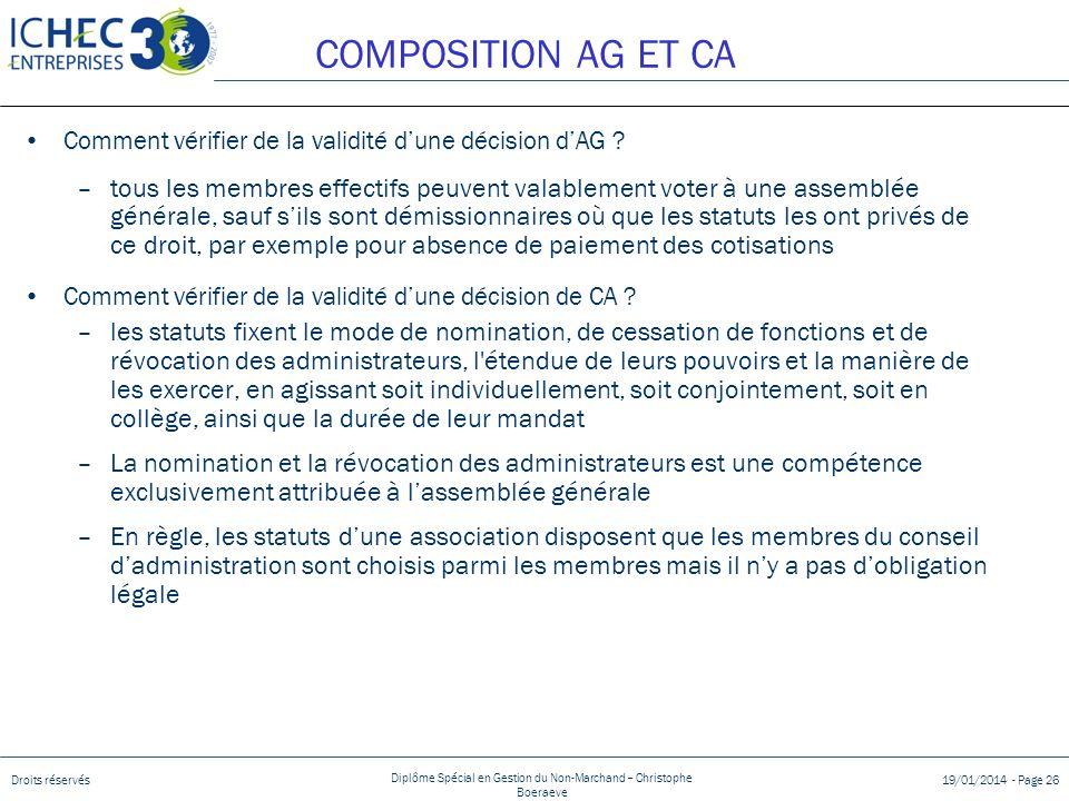 Droits réservés Diplôme Spécial en Gestion du Non-Marchand – Christophe Boeraeve 19/01/2014 - Page 26 COMPOSITION AG ET CA Comment vérifier de la vali