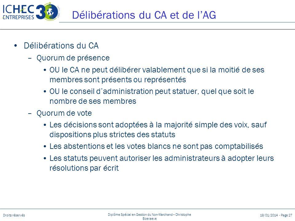 Droits réservés Diplôme Spécial en Gestion du Non-Marchand – Christophe Boeraeve 19/01/2014 - Page 27 Délibérations du CA et de lAG Délibérations du C