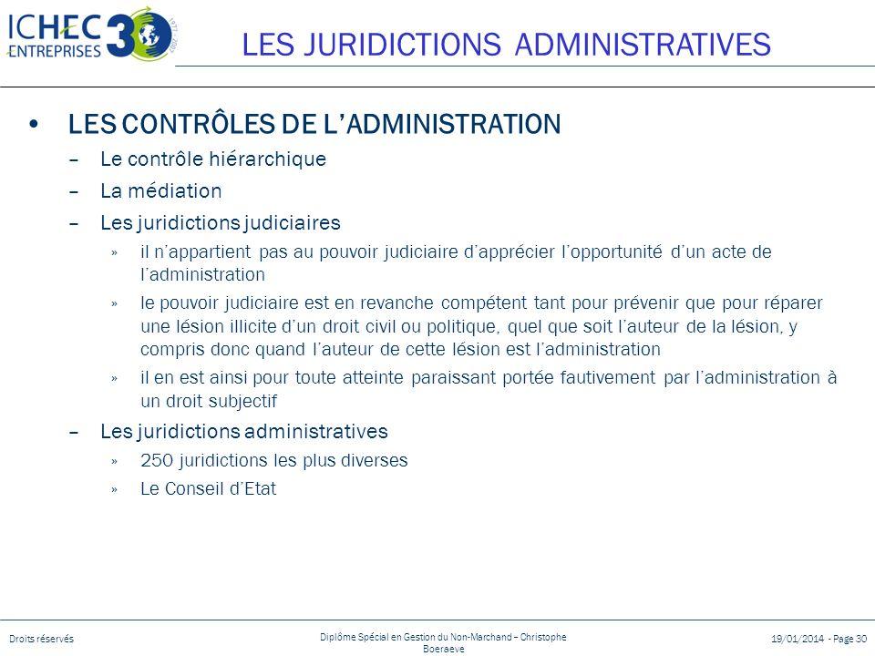 Droits réservés Diplôme Spécial en Gestion du Non-Marchand – Christophe Boeraeve 19/01/2014 - Page 30 LES CONTRÔLES DE LADMINISTRATION –Le contrôle hi