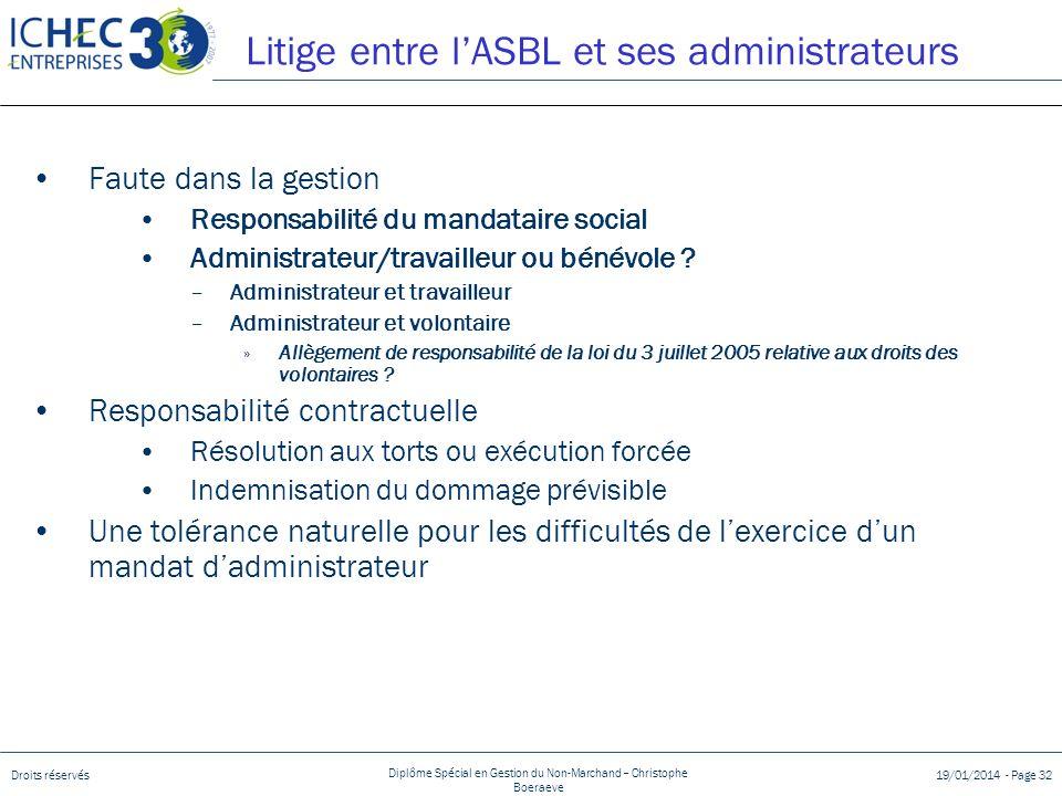 Droits réservés Diplôme Spécial en Gestion du Non-Marchand – Christophe Boeraeve 19/01/2014 - Page 32 Litige entre lASBL et ses administrateurs Faute