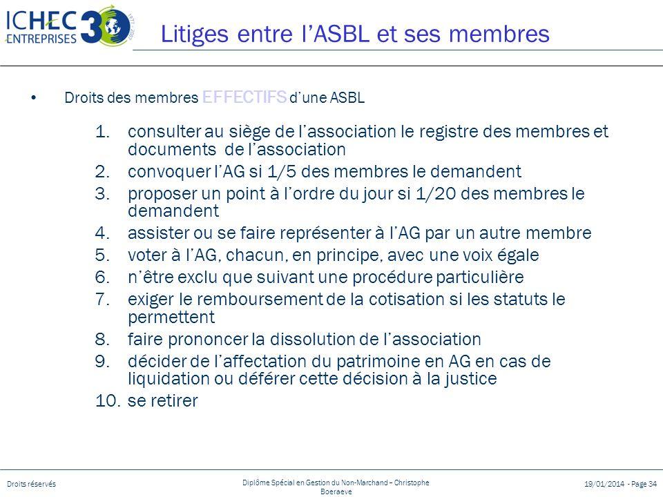 Droits réservés Diplôme Spécial en Gestion du Non-Marchand – Christophe Boeraeve 19/01/2014 - Page 34 Litiges entre lASBL et ses membres Droits des me