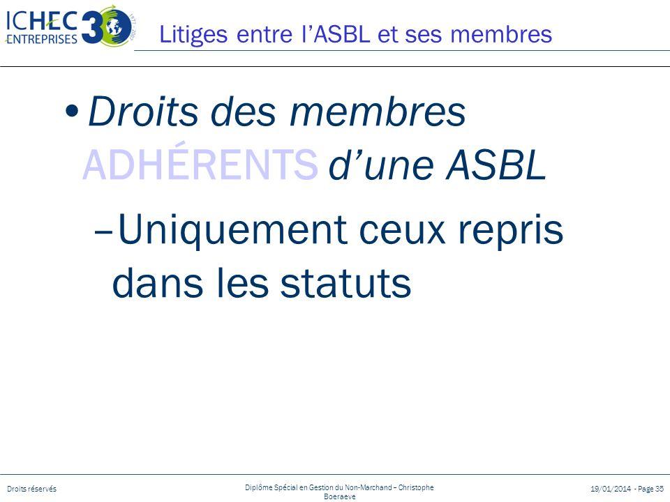 Droits réservés Diplôme Spécial en Gestion du Non-Marchand – Christophe Boeraeve 19/01/2014 - Page 35 Litiges entre lASBL et ses membres Droits des me