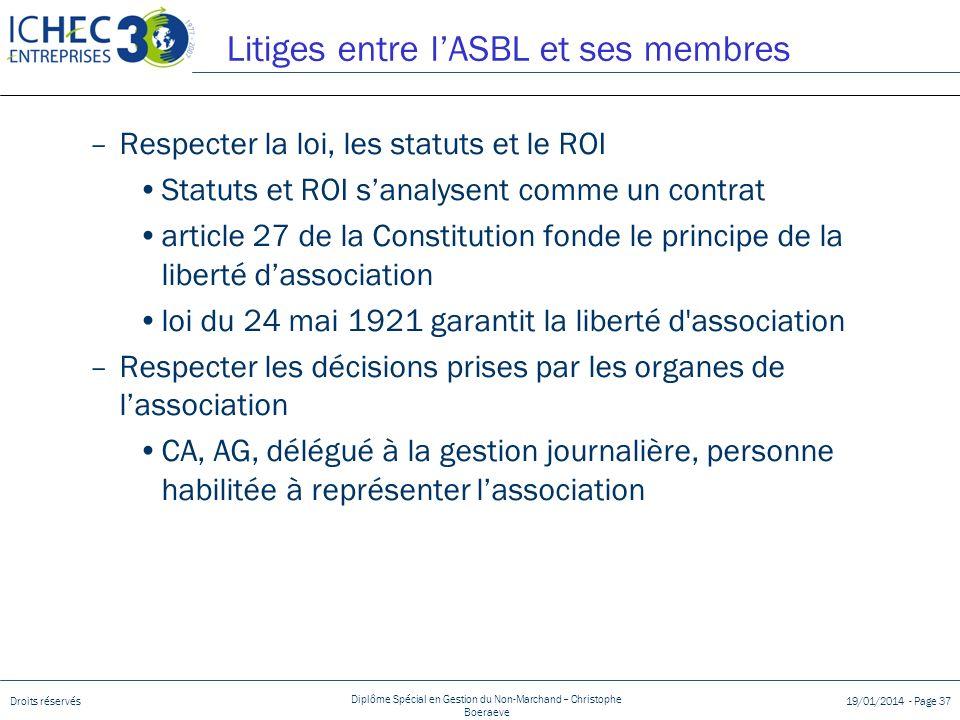 Droits réservés Diplôme Spécial en Gestion du Non-Marchand – Christophe Boeraeve 19/01/2014 - Page 37 –Respecter la loi, les statuts et le ROI Statuts