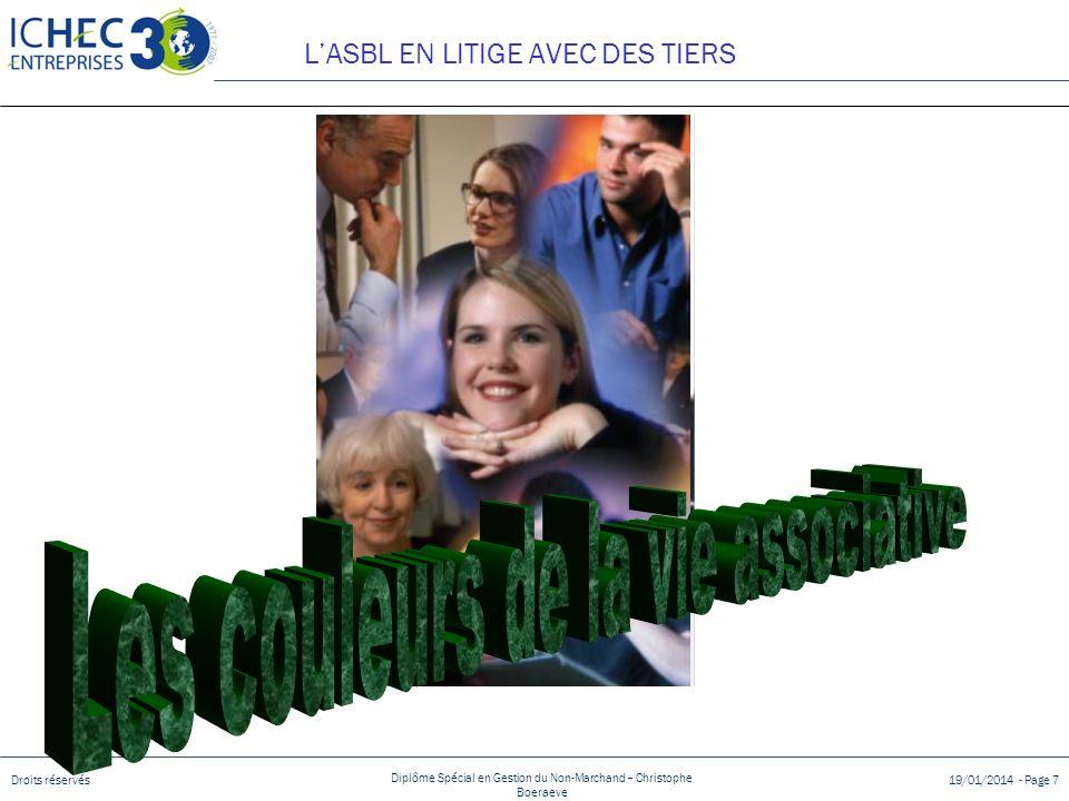 Droits réservés Diplôme Spécial en Gestion du Non-Marchand – Christophe Boeraeve 19/01/2014 - Page 7 LASBL EN LITIGE AVEC DES TIERS