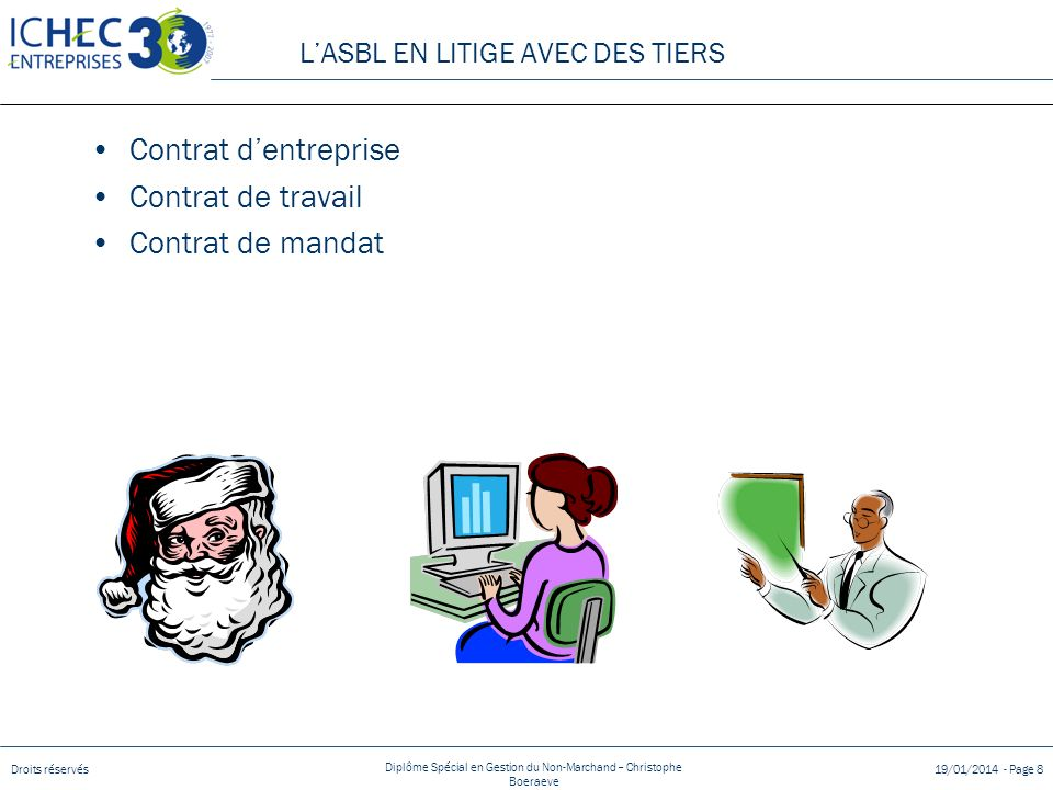 Droits réservés Diplôme Spécial en Gestion du Non-Marchand – Christophe Boeraeve 19/01/2014 - Page 8 Contrat dentreprise Contrat de travail Contrat de