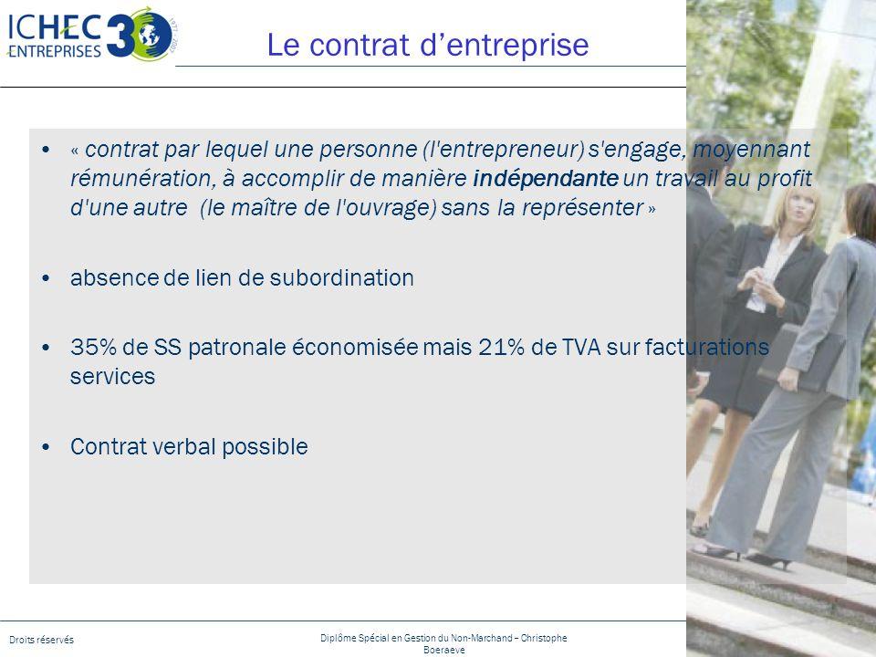 Droits réservés Diplôme Spécial en Gestion du Non-Marchand – Christophe Boeraeve 19/01/2014 - Page 9 Le contrat dentreprise « contrat par lequel une p