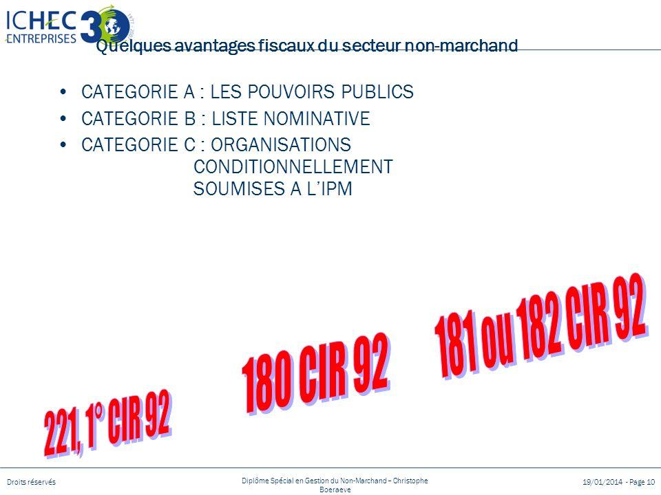 Droits réservés Diplôme Spécial en Gestion du Non-Marchand – Christophe Boeraeve 19/01/2014 - Page 10 Quelques avantages fiscaux du secteur non-marchand CATEGORIE A : LES POUVOIRS PUBLICS CATEGORIE B : LISTE NOMINATIVE CATEGORIE C : ORGANISATIONS CONDITIONNELLEMENT SOUMISES A LIPM