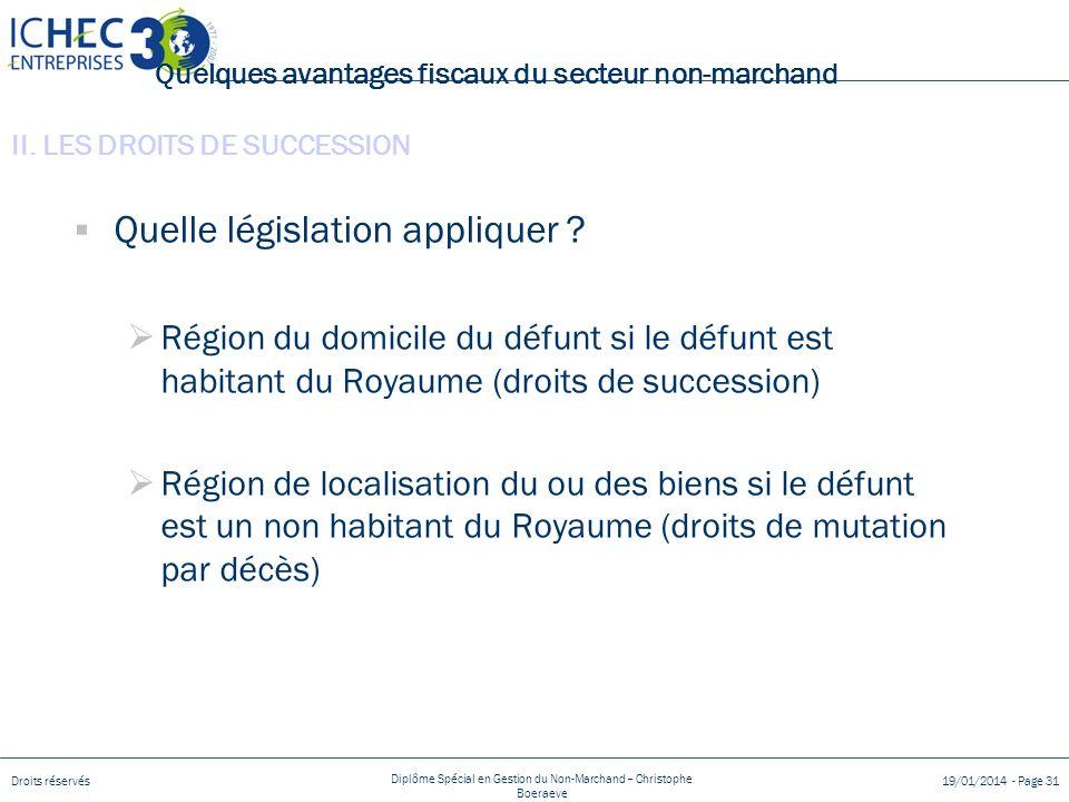 Droits réservés Diplôme Spécial en Gestion du Non-Marchand – Christophe Boeraeve 19/01/2014 - Page 31 Quelques avantages fiscaux du secteur non-marchand Quelle législation appliquer .