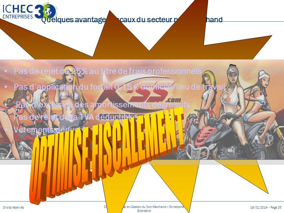 Droits réservés Diplôme Spécial en Gestion du Non-Marchand – Christophe Boeraeve 19/01/2014 - Page 35 Quelques avantages fiscaux du secteur non-marchand 1.